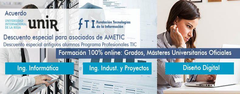Acuerdo con la UNIR formación 100% online. Grados y Másteres Universitarios oficiales