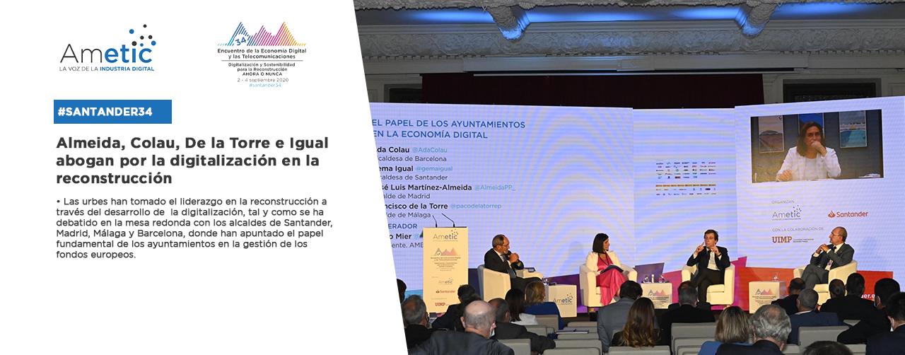 Almeida, Colau, De la Torre e Igual abogan por la digitalización en la reconstrucción